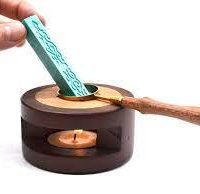 Wooden Wax furnace with Spoon